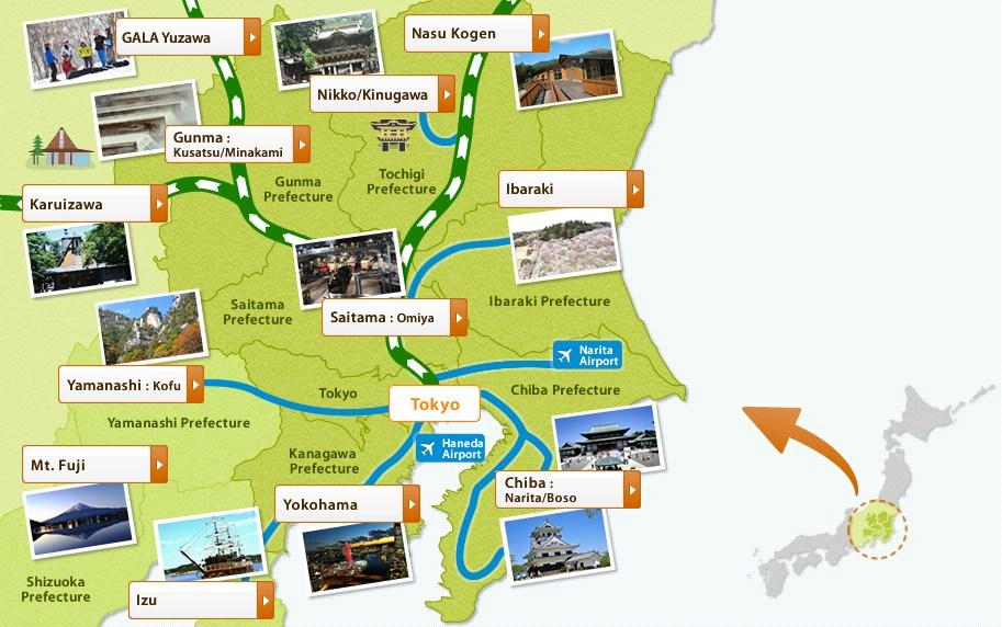 แผนที่ JR Tokyo Wide Pass