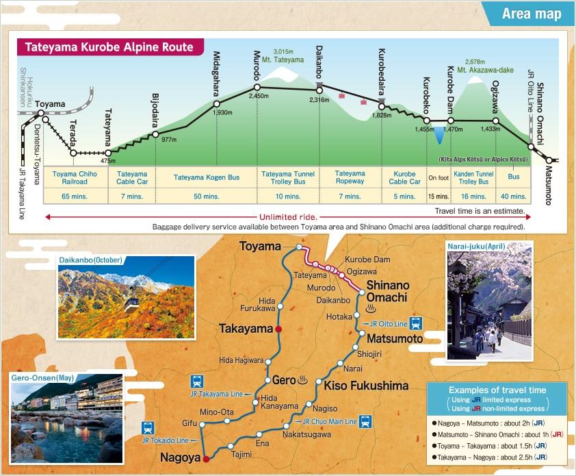 Alpine-Takayama-Matsumoto Area Tourist Pass Map
